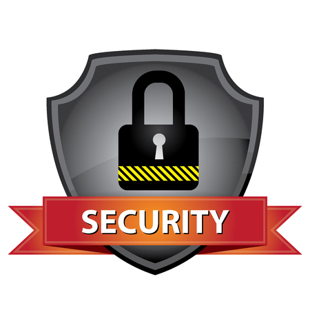 secret privacy: Network Security, Privacy or Top Secret Concept Present By Gray Glossy Style Lock Shield Icon With Red Security Ribbon Isolated on White Background Stock Photo