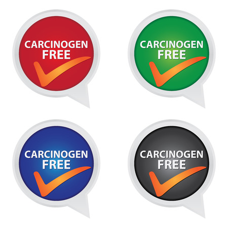 carcinogen: Icon for Marketing Campaign, Product Information or Product Ingredient Concept Present By Colorful Carcinogen Free Icon With Check Mark Sign Isolated on White Background