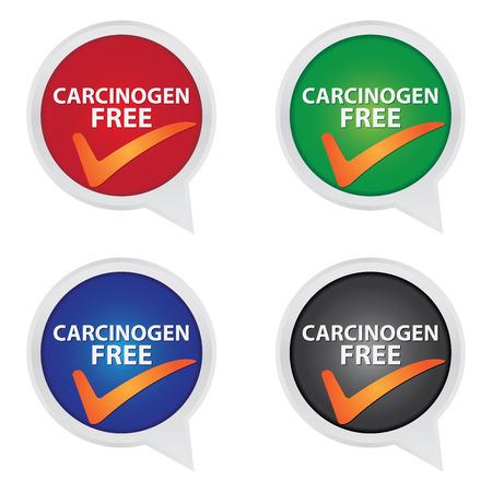 carcinogen: Icono de la campa�a de marketing, informaci�n del producto o del producto Ingrediente Concepto Presente Por colorido carcin�geno Icono libre con la marca de verificaci�n de signo aislado sobre fondo blanco