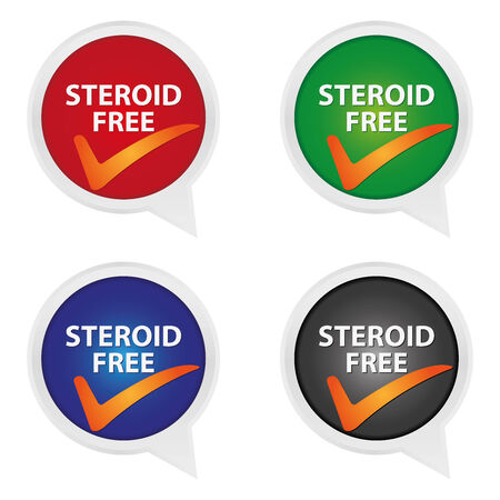 steroid: Icon for Marketing Campaign, Product Information or Product Ingredient Concept Present By Colorful Steroid Free Icon With Check Mark Sign Isolated on White Background Stock Photo