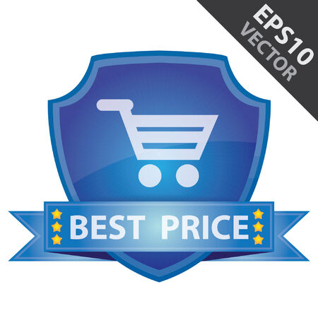 Vector : Graphic For Marketing Campaign, Present By Blue Glossy Style Shield Icon With Best Price Label and Shopping Cart Sign Isolated on White Background Illustration