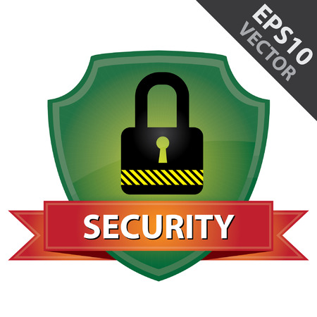 secret privacy: Vector : Network Security, Privacy or Top Secret Concept Present By Green Glossy Style Lock Shield Icon With Red Security Ribbon Isolated on White Background Illustration