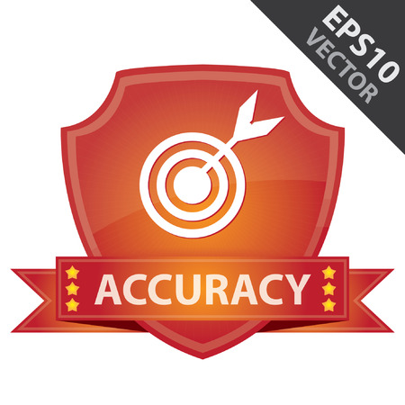 Vector : Graphic For Marketing Campaign, Present By Red Glossy Style Shield Icon With Accuracy Label and Dartboard Sign Isolated on White Background Illustration