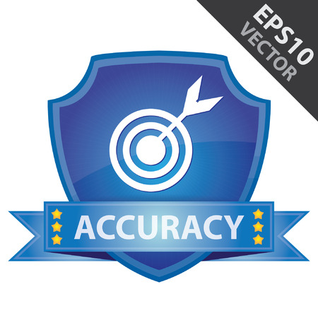 Vector : Graphic For Marketing Campaign, Present By Blue Glossy Style Shield Icon With Accuracy Label and Dartboard Sign Isolated on White Background