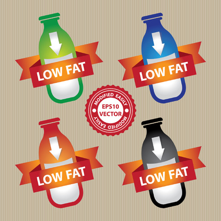 low cal: Vector : Marketing Materials For Healthy Food or Dietary Concept Present By Colorful Bottle of Milk With Down Arrow Sign and Low Fat Ribbon Isolated on White Background