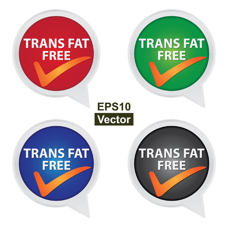 Vector : Icon for Marketing Campaign, Product Information or Product Ingredient Concept Present By Colorful Trans Fat Free Icon With Check Mark Sign Isolated on White Background Illustration