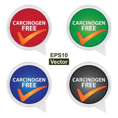 carcinogen: Vector : Icon for Marketing Campaign, Product Information or Product Ingredient Concept Present By Colorful Carcinogen Free Icon With Check Mark Sign Isolated on White Background