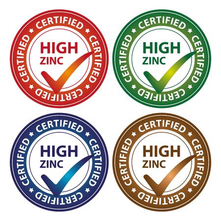 Kleurrijke Cirkel Glossy Style High Zink Certified Sticker, pictogram of label geïsoleerd op witte achtergrond