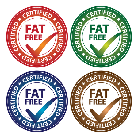 low cal: Colorful Circle Glossy Style Fat Free Certified Sticker, Icon or Label Isolated on White Background