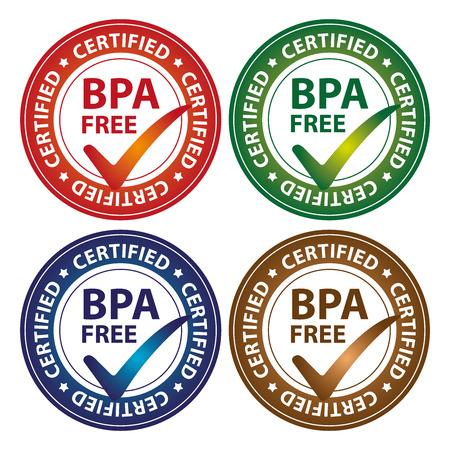カラフルな円の光沢のあるスタイルの BPA 無料認定ステッカー、アイコンまたはラベルは、白い背景で隔離 写真素材