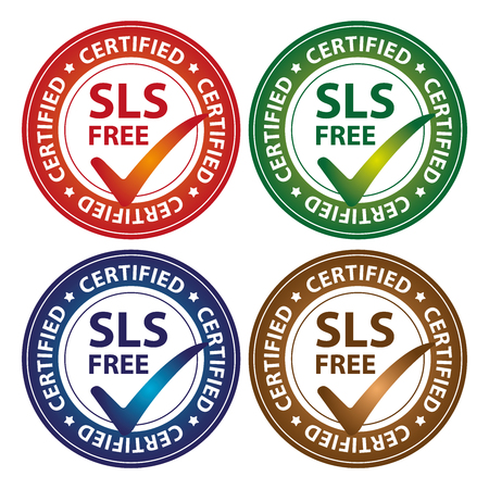 sulfate: Colorful Circle Glossy Style SLS Free Certified Sticker, Icon or Label Isolated on White Background Stock Photo
