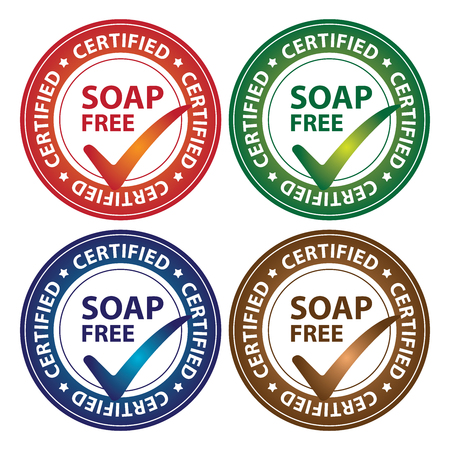 hypo: Colorful Circle Glossy Style Soap Free Certified Sticker, Icon or Label Isolated on White Background