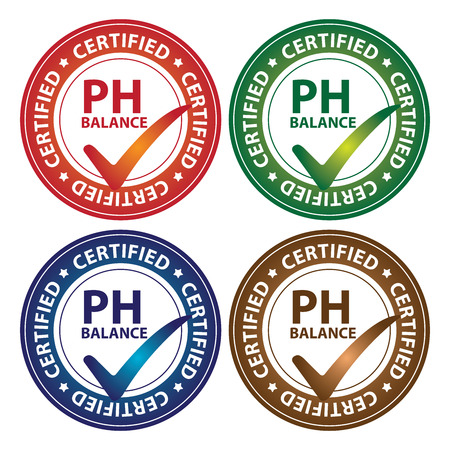ph: Colorful Circle Glossy Style PH Balance Certified Sticker, Icon or Label Isolated on White Background