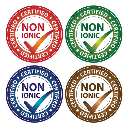 hypo: Colorful Circle Glossy Style Non Ionic Certified Sticker, Icon or Label Isolated on White Background