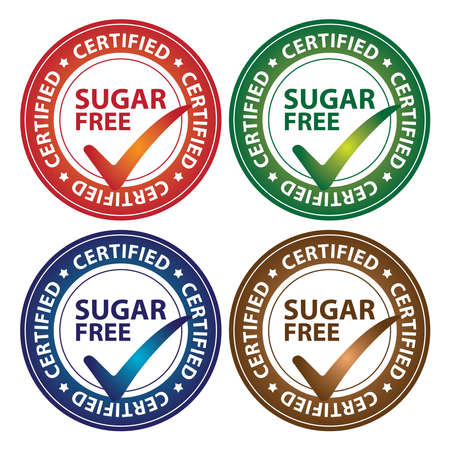Colorful Circle Glossy Style Sugar Free Certified Sticker, Icon or Label Isolated on White Background