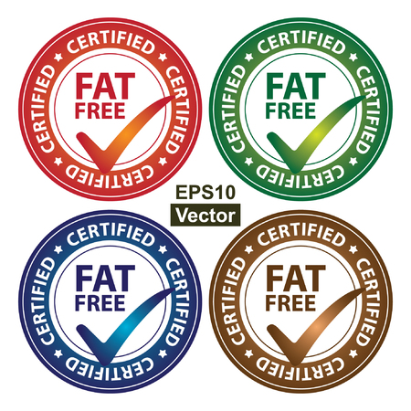 Vector : Colorful Circle Glossy Style Fat Free Certified Sticker, Icon or Label Isolated on White Background Vector
