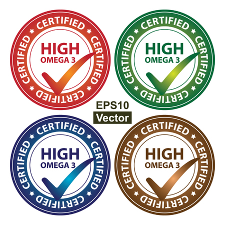 multivitamin: Vector : Colorful Circle Glossy Style High Omega 3 Certified Sticker, Icon or Label Isolated on White Background