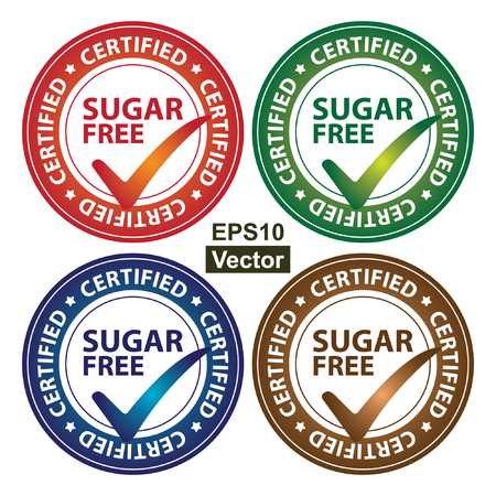 Vector : Colorful Circle Glossy Style Sugar Free Certified Sticker, Icon or Label Isolated on White Background