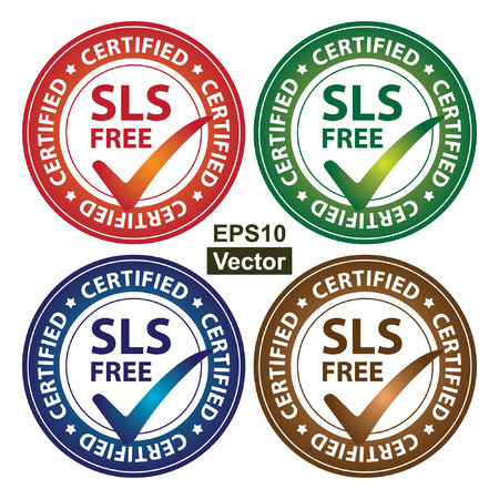sulfate: Vector : Colorful Circle Glossy Style SLS Free Certified Sticker, Icon or Label Isolated on White Background Illustration