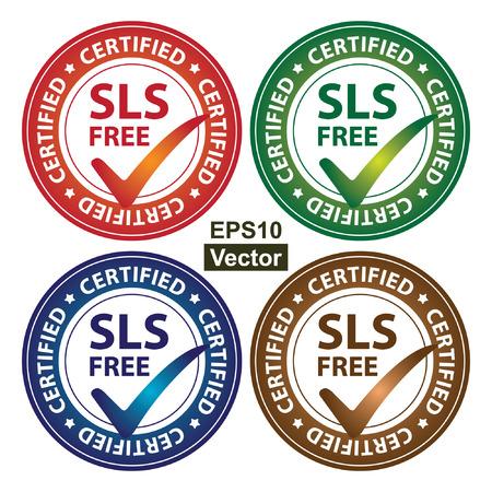 Vector: Kleurrijke Cirkel Glossy Style SLS Gratis Certified Sticker, pictogram of label geïsoleerd op witte achtergrond