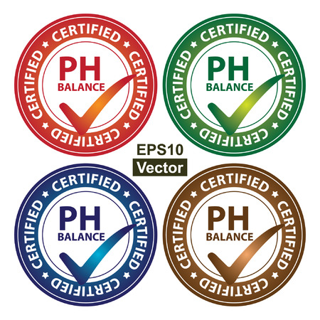 ph: Vector : Colorful Circle Glossy Style PH Balance Certified Sticker, Icon or Label Isolated on White Background