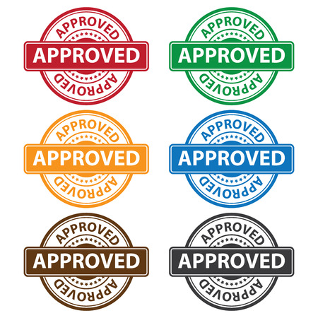 Quality Management Systems, Quality Assurance and Quality Control Concept Present By Colorful Rejected Icon With Approved Text and Little Star Isolated on White Background