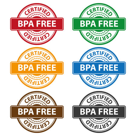 bpa: Quality Management Systems, Quality Assurance and Quality Control Concept Present By Colorful Rejected Icon With BPA Free Certified Text and Little Star Isolated on White Background