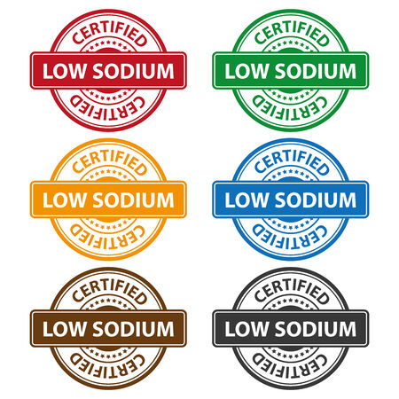 salt free: Quality Management Systems, Quality Assurance and Quality Control Concept Present By Colorful Rejected Icon With Low Sodium Certified Text and Little Star Isolated on White Background