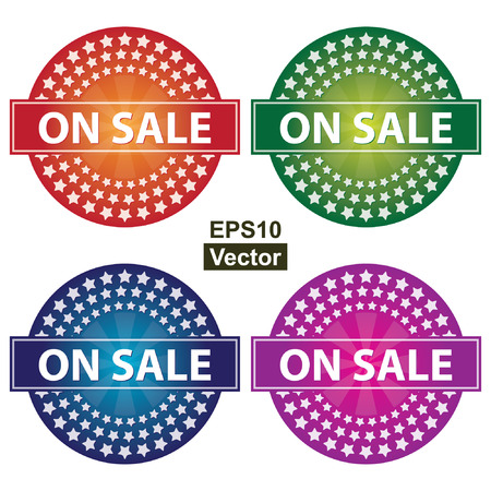 Vector : Promotional Sale Labels Set, Present By Colorful Glossy Style Icon With On Sale Label and Group of Little Star Around Isolated on White Background