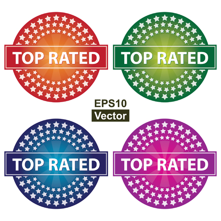 rated: Vector : Promotional Sale Labels Set, Present By Colorful Glossy Style Icon With Top Rated Label and Group of Little Star Around Isolated on White Background Illustration