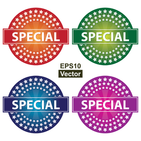 Vector : Promotional Sale Labels Set, Present By Colorful Glossy Style Icon With Special Label and Group of Little Star Around Isolated on White Background
