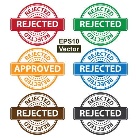 disapprove: Vector : Quality Management Systems, Quality Assurance and Quality Control Concept Present By Colorful Rejected Icon With Rejected Text and Little Star Isolated on White Background