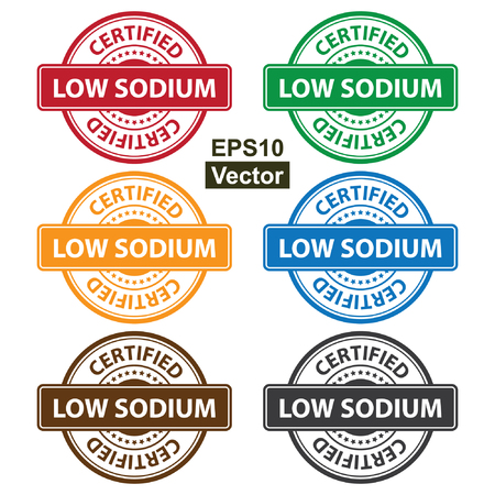 salt free: Vector : Quality Management Systems, Quality Assurance and Quality Control Concept Present By Colorful Rejected Icon With Low Sodium Certified Text and Little Star Isolated on White Background