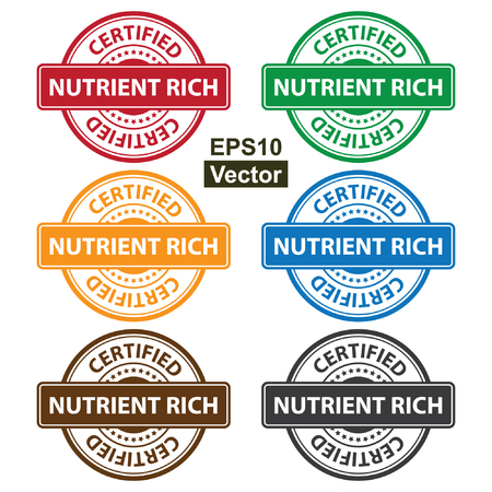 quality assurance: Vector : Quality Management Systems, Quality Assurance and Quality Control Concept Present By Colorful Rejected Icon With Nutrient Rich Certified Text and Little Star Isolated on White Background