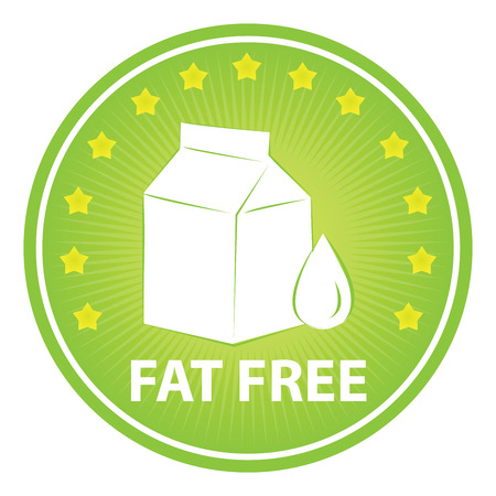 Tag, Sticker or Badge For Healthy, Weight Loss, Diet or Fitness Product Present By Green Badge With Fat Free Text, Milk Box Sign and Little Star Around Isolated on White Background photo