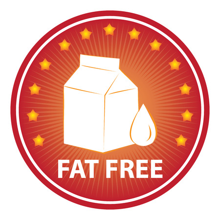 box weight: Tag, Sticker or Badge For Healthy, Weight Loss, Diet or Fitness Product Present By Red Badge With Fat Free Text, Milk Box Sign and Little Star Around Isolated on White Background