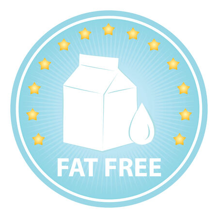 box weight: Tag, Sticker or Badge For Healthy, Weight Loss, Diet or Fitness Product Present By Blue Badge With Fat Free Text, Milk Box Sign and Little Star Around Isolated on White Background Stock Photo