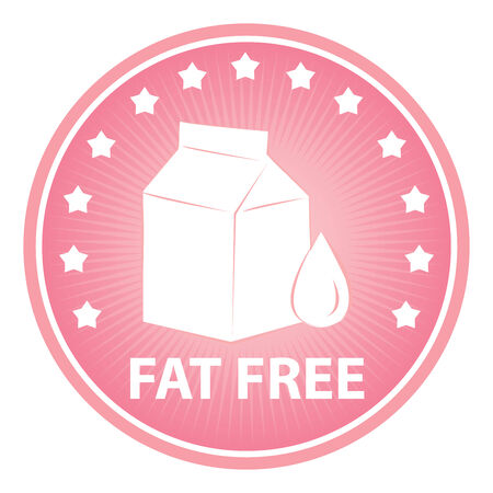 low cal: Tag, Sticker or Badge For Healthy, Weight Loss, Diet or Fitness Product Present By Pink Badge With Fat Free Text, Milk Box Sign and Little Star Around Isolated on White Background
