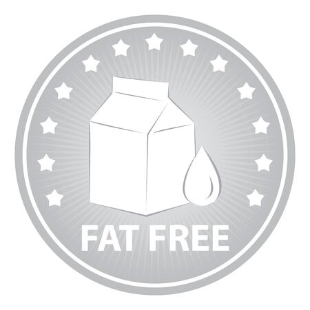 low cal: Tag, Sticker or Badge For Healthy, Weight Loss, Diet or Fitness Product Present By Gray Badge With Fat Free Text, Milk Box Sign and Little Star Around Isolated on White Background