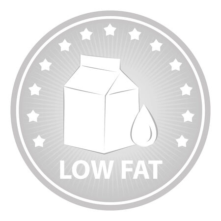 Tag, Sticker or Badge For Healthy, Weight Loss, Diet or Fitness Product Present By Gray Badge With Low Fat Text, Milk Box Sign and Little Star Around Isolated on White Background