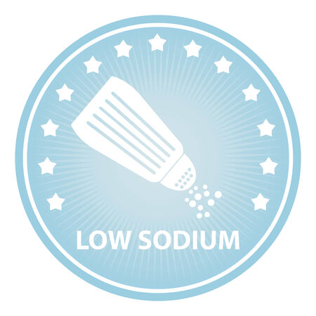 saline: Tag, Sticker or Badge For Healthy, Weight Loss, Diet or Fitness Product Present By Blue Badge With Low Sodium Text, Salt Sign and Little Star Around Isolated on White Background