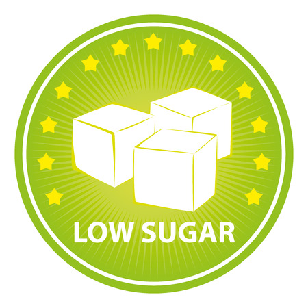 sugar cube: Tag, Sticker or Badge For Healthy, Weight Loss, Diet or Fitness Product Present By Green Badge With Low Sugar Text, Cube Sugar Sign and Little Star Around Isolated on White Background Stock Photo
