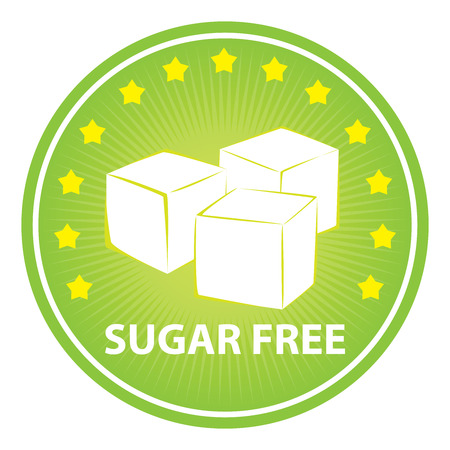 sugar cube: Tag, Sticker or Badge For Healthy, Weight Loss, Diet or Fitness Product Present By Green Badge With Sugar Free Text, Cube Sugar Sign and Little Star Around Isolated on White Background