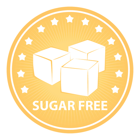 sugar cube: Tag, Sticker or Badge For Healthy, Weight Loss, Diet or Fitness Product Present By Orange Badge With Sugar Free Text, Cube Sugar Sign and Little Star Around Isolated on White Background