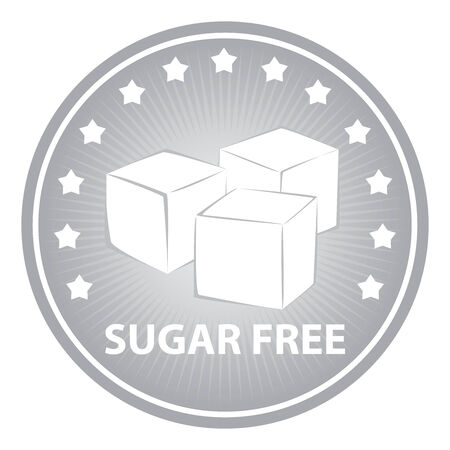sugar cube: Tag, Sticker or Badge For Healthy, Weight Loss, Diet or Fitness Product Present By Gray Badge With Sugar Free Text, Cube Sugar Sign and Little Star Around Isolated on White Background