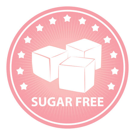 sugar cube: Tag, Sticker or Badge For Healthy, Weight Loss, Diet or Fitness Product Present By Pink Badge With Sugar Free Text, Cube Sugar Sign and Little Star Around Isolated on White Background