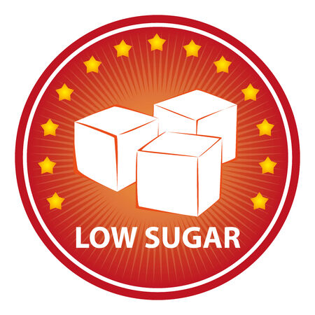 sugar cube: Tag, Sticker or Badge For Healthy, Weight Loss, Diet or Fitness Product Present By Red Badge With Low Sugar Text, Cube Sugar Sign and Little Star Around Isolated on White Background Stock Photo