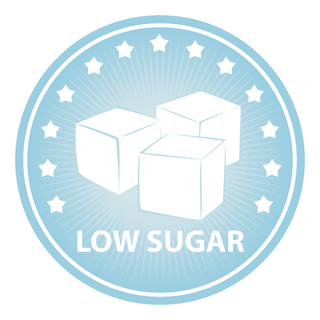 sugar cube: Tag, Sticker or Badge For Healthy, Weight Loss, Diet or Fitness Product Present By Blue Badge With Low Sugar Text, Cube Sugar Sign and Little Star Around Isolated on White Background Stock Photo