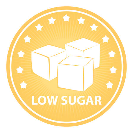 sugar cube: Tag, Sticker or Badge For Healthy, Weight Loss, Diet or Fitness Product Present By  Orange Badge With Low Sugar Text, Cube Sugar Sign and Little Star Around Isolated on White Background