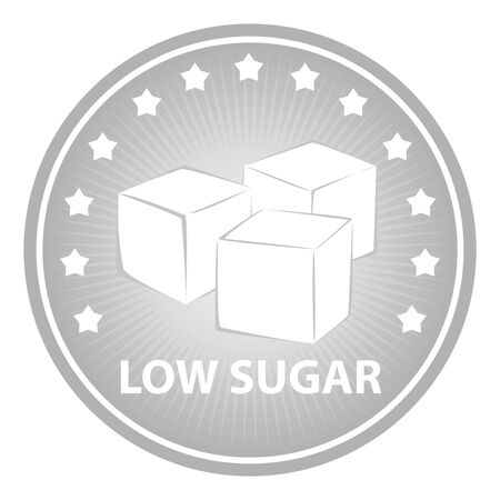 sugar cube: Tag, Sticker or Badge For Healthy, Weight Loss, Diet or Fitness Product Present By Gray Badge With Low Sugar Text, Cube Sugar Sign and Little Star Around Isolated on White Background Stock Photo